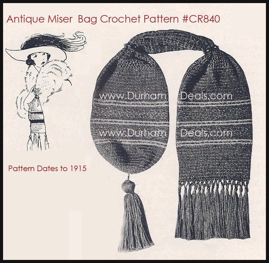 Crochet Miser Bag Pattern : Antique Miser Bag Crochet Pattern 1910s Crochet Pattern
