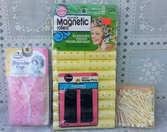 Vintage Rollers Magnetic Rollers Hair Pin Curler Pics and Slumber Cap 1970s hipster hair