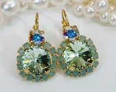 Mint Drop Earrings Mint Swarovski Crystal Gold Earrings Mint Ab Drop Earring Mint Wedding Mint Gold Set Pacific Opal Halo earring,Gold,GE102