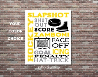 Ice Hockey Sign, Ice Hockey Wall Art, Hockey Poster, DIGITAL, YOU PRINT,  Hockey Typography, Custom Colors, Hockey Gifts, Ice Hockey Decor