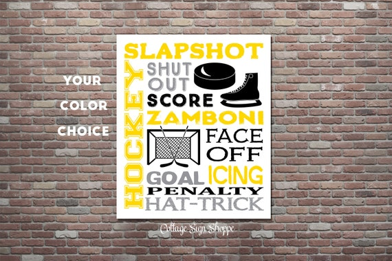 Ice Hockey Sign, Ice Hockey Wall Art, Hockey Poster, DIY PRINTABLE, Hockey Typography, YOU Print,Custom Colors,Hockey Gifts,Ice Hockey Decor