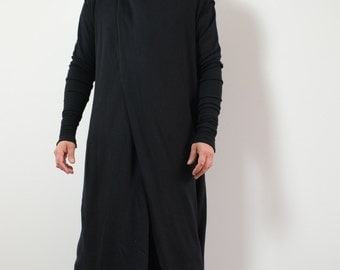 Men's Black Hoodie Coat Large to XX-Large. Organic Cotton Sith Coat with scarf collar and hood.