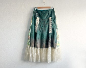 Boho Chic Long Skirt Hippie Clothes Herringbone Wool Art To Wear Women's Gypsy Skirt Bohemian Style Shabby Lace Teal Green Ombre L 'AUBREY'
