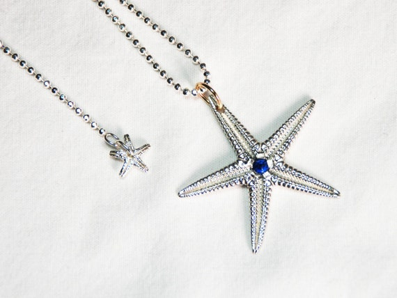 Large Solid Sterling Silver Starfish Charm with Faceted Blue Kyanite Center