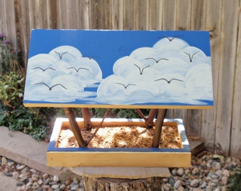 Handmade Bird Feeder - Covered Bridge Style Bird Feeder - Birds on a Blue Sky with Fluffy White Clouds - Reclaimed Wood and Branches Feeder