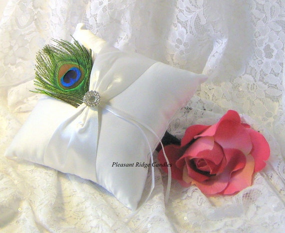 peacock ring bearer pillow feather ring by