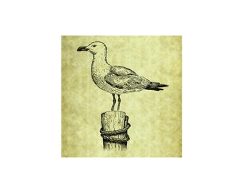 SEA GULL Rubber Stamp~Gulls~Gull on wood Post~Beach Stamps~Ocean~Seaside~Sea~Nautical theme decor~Sailing~Boating~Wedding~Rustic (53-09)