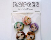 BLYTHE doll - button pin badges (5) set - big eyes