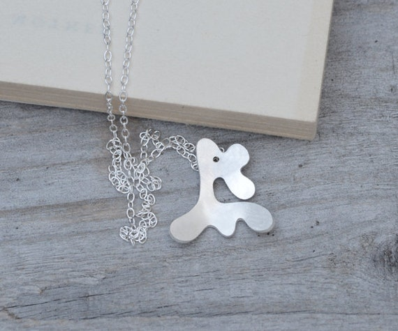 Abstract Deer Necklace In Sterling Silver, Handmade In Beautiful Cornwall