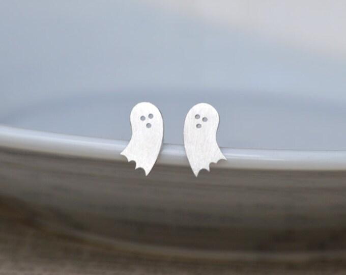 Little Ghost Earring Studs In Sterling Silver, Halloween Earring Studs, Handmade In England