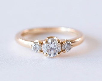 Three Stone Diamond Engagement Ring | 14k Gold Minimalist Trilogy Wedding Ring | Round Cut Forever One Moissanite Ring [The Chloe Ring]