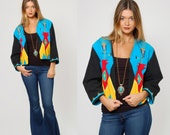 Vintage 80s SOUTHWESTERN Jacket TRIBAL Blazer Abstract ETHNIC Cropped Blazer Embroidered Jacket