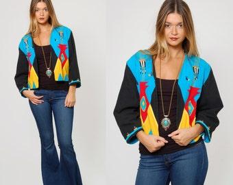 Vintage 80s SOUTHWESTERN Jacket TRIBAL Blazer Abstract ETHNIC Cropped Blazer Embroidered Jacket