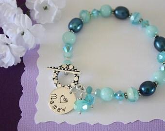 Grandma Bracelet Blue, Memaw Bracelet, Jade, Teal Bracelet, Silver Bracelet, Czech Glass, Grandma, Nana, Mom, Mother, Monogram Charm