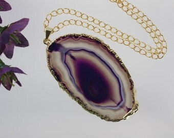 Gray Agate Pendant, Agate Necklace, Agate Slice, Boho Jewelry, Gold Plated Agate, Layered Necklace, Boho Necklace, APS92
