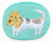 Textile Pet Brooch - The long dog - Basset Griffon Vendeen - Funny Dogs - collection, hand embroidered textile dog jewelry