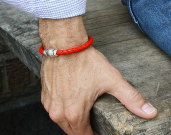 Mens and Womens Leather Bracelet / Bright Red Braided Leather Wristband with Magnetic Clasp / Skye