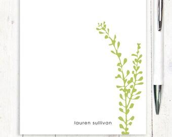 personalized notePAD - LEAFY STEM - stationery - stationary - nature - botanical