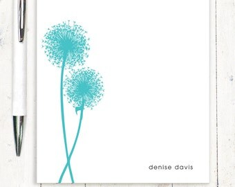 personalized notePAD - DANDELION - stationery - stationary - choose color