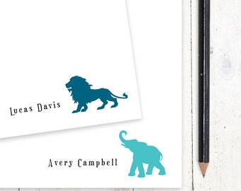 personalized notePAD - LION or ELEPHANT - stationery - stationary - choose color