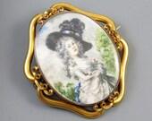 MASSIVE 14k gold exceptional antique Georgian hand painted portrait brooch pin pendant Georgiana Cavendish Duchess of Devonshire