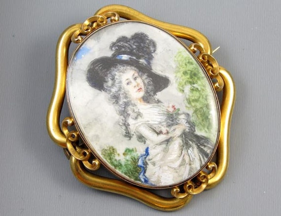 MASSIVE 14k gold exceptional antique Georgian hand painted portrait brooch pin pendant Georgiana Cavendish Duchess of Devonshire