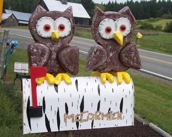 owls mailbox. 2 owls sitting on a birch tree mailbox