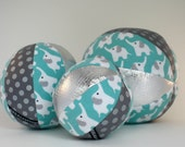 Elephant Rattle Ball with Organic Cotton Flannel and Silver Metallic Vegan Leather - Elephants in Aqua and Silver - Ready to Ship