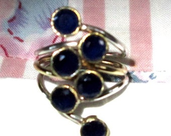 RING - SIX - SAPPHIRES  - Two Tone -  Sterling Silver - size 9  Blue 196