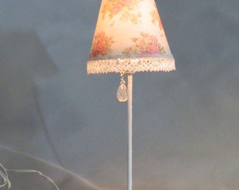 Dollhouse Miniature Shabby Chic Pink Roses Floral Lace Floor Lamp w Crystal Pull