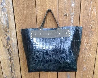 Emerald Green Crocodile Leather Tote Bag
