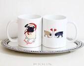 Pair of Pug Mugs - Pug Mug Set