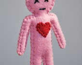 Mini Voodoo Doll - break up and make up doll - love spells - cotton candy pink color- as Seen in Stuffed Magazine - hand sewn - OOAK