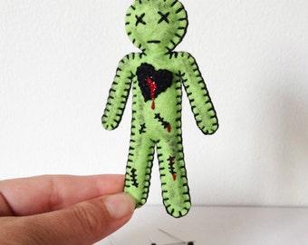 Voodoo Doll, zombie Doll, creepy cute doll, Walking dead zombie doll, neon green, bloody, gift under 30, hand sewn doll, HibouDesigns OOAK