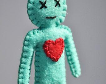 Voodoo Doll mini - break up doll - love spells - black magic - mint julep mint leaf color- as Seen in Stuffed Magazine - hand sewn - OOAK