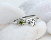 Christian Jewelry, Stack Cross Ring and Stackable Birthstone Rings create a beautiful Christian ring. Set of 2 Stack Rings