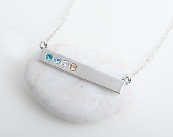 """Silver Bar Necklace with """"Blessed"""" on the back, Sterling Birthstone Bar Necklace. Perfect Family Necklace or Mother's Birthstone Necklace!"""