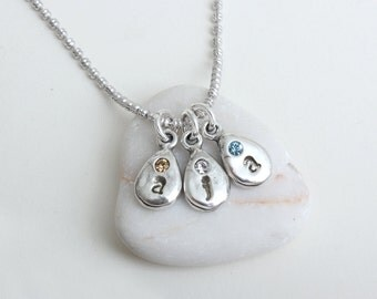 Birthstone and Initial Drop Charm Necklace.  Create your own Personalized Birthstone Necklace with up to 6 Sterling Silver Stamped Charms!