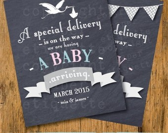 Customized Pregnancy Announcement Chalkboard Sign Printable - Pink or Blue - Pregnancy Announcement - Pregnancy Reveal - We're Expecting