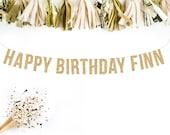 Custom Happy Birthday Banner. Gold Glitter Banner, Custom Gold Glitter Banner, Birthday Banner, Wedding Hashtag Banner, Gold Glitter Letters