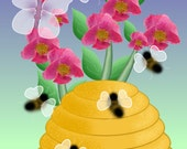 Painting ACEO Bee Hive, Bees, Flowers, Summer, Yellow, Original Graphic Design Art Card