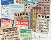 Vintage Bingo Cards digital scrapbooking graphics / clipart / instant download / printable / ephemera