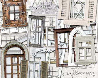 old window frames digital scrapbooking graphics clipart altered art mixed media collage instant download printable