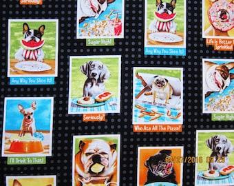 DOG FABRIC Eat Drink and Be Funny Robert Kaufman Rare Fabric - 1 Yard - #D1