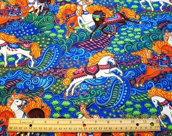 HORSE FABRIC Neon Mystic Horses from Fabri-Quilt Rare - 1 Yard - #KR12