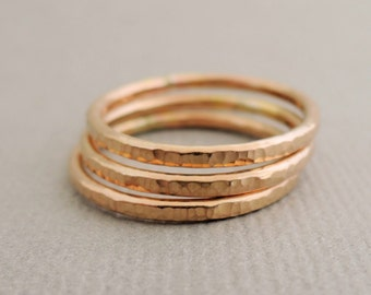 Gold Ring or Rose Gold Ring 14 gauge thick textured stackable ring choose quantity and size