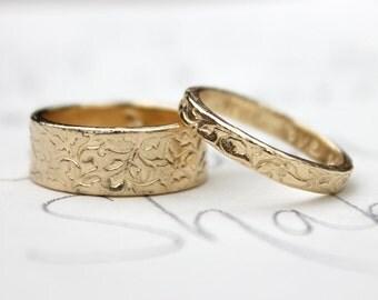 vine wedding band set . 14k yellow gold engraved vine leaf wedding bands rings . recycled gold wedding band set by peacesofindigo