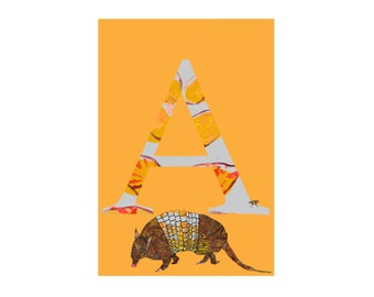 MATTED A is for Armadillo Alphabet Animal Art Print // Nursery Art School Classroom Education Baby Shower Gift // 13x19, 8.5x11, or 5x7