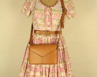 Vintage 1950s Full Skirt Picnic Dress, Small