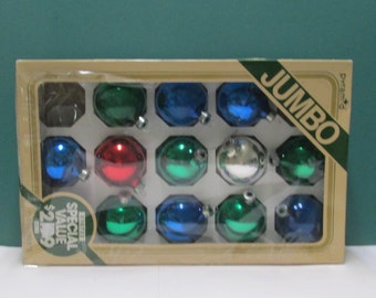Vintage 12 Christmas Mercury Glass Balls Ornaments Radko Rauch Red Blue Green Box Mid Century Industrial Tree Trim 50s Glass Ball lot
